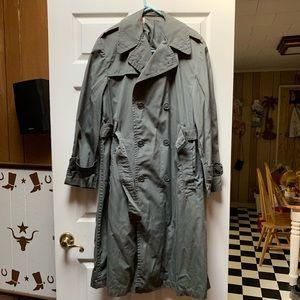 Dark Green Vintage Floor-length Trench Coat